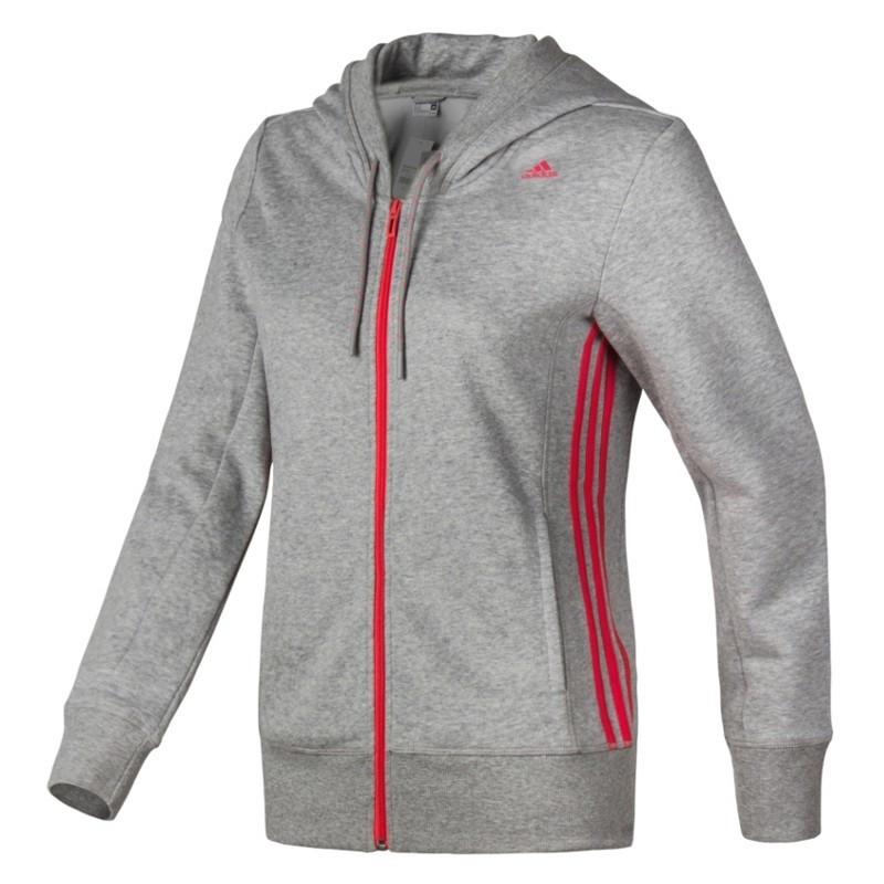 94cb22a959 Moleton Adidas Ess Mid 3S Capuz - Fem - Cinza - Planeta Tenis